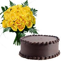 Chocolate Cake 18 Yellow Roses Bouquet Kochi including Cake in India