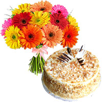 Send Online Birthday Cake to India - Gerbera Bouquet to India