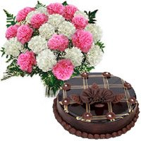 Same Day Birthday Cake to India along with Flowers Bouquet to India