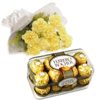 Send Online Cake to India including Yellow Carnation 16 Pcs Ferrero Rocher Chocolate in India