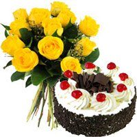 Flowers to India. Yellow Roses 1 Kg Black Forest Cake in India