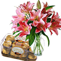 Same Day Flowers to India - Pink Lily Vase