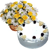 Same Day Birthday Cake to India - Gerbera Yellow Roses in India