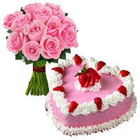 Cake to India Same Day Delivery along with Roses Bouquet to India