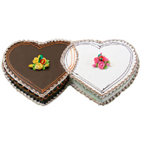 Heart Shaped Cakes to India including 3 Kg Double Heart Chocolate Vanilla 2-in-1 Cake in India