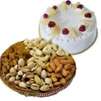 Birthday Cake to India -  Pineapple Cake with 500 gm Mixed Dry Fruits in India
