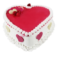 Wedding Cake to India. 3 Kg Heart Shape Strawberry Cake to India