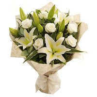 3 White Lily 6 Roses Flower Bouquet to India - Send Flowers to India
